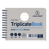 Challenge Wirebound Triplicate Book Ruled Carbonless 50 Sets 105 x 130mm Pack of 5 100080472