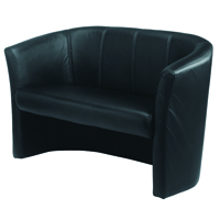 Avior Black 2 Seat Vinyl Tub Sofa
