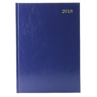 A4 2 Pages Per Day 2018 Blue Desk Diary KF2A4BU18