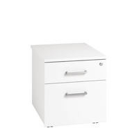 Arista Under Desk Mobile Pedestal Two Drawer White KF74302
