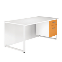 Arista Single 1600mm White/Orange Pedestal Desk
