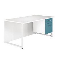 Arista Single 1600mm White/Blue Pedestal Desk