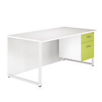 Arista Single 1600mm White/Green Pedestal Desk