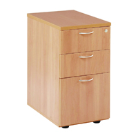 First Desk High Pedestal 3 Drawer 600mmD Beech