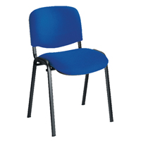 First Multipurpose Stacking Chair Black Frame Blue Upholstery