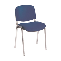 First Multipurpose Stacking Chair Chrome Frame Blue Upholstery
