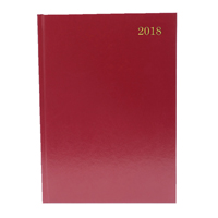 A4 2 Days Per Page 2018 Burgundy Desk Diary KFA42BG18