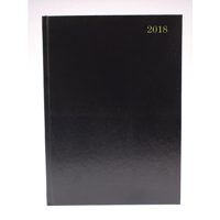 A5 2 Days Per Page 2018 Black Desk Diary KFA52BK18