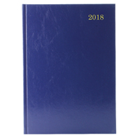 A5 2 Days Per Page 2018 Blue Desk Diary KFA52BU18