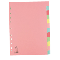 A4 Manilla Divider 12-Part Pink With Multi-Colour Tabs WX01515