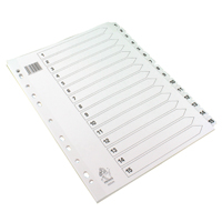 A4 White 1-15 Mylar Index WX01530