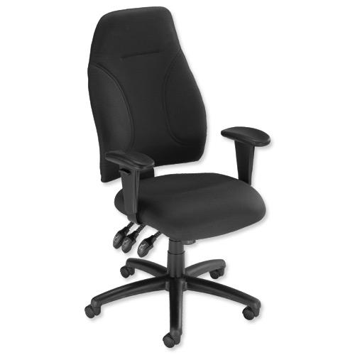 Influx Posture High Back Asynchronous Armchair Seat Black