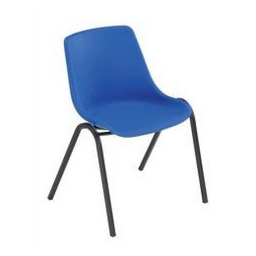Trexus Polypropylene Chair Stackable With Black Frame Blue