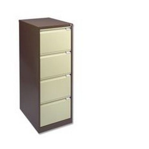 Bisley 4 Drawer Filing Cab Lockable Coffee Cream   BS4E-0506