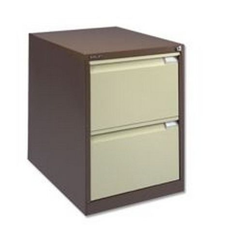 Bisley 2 Drawer Filing Cab Lockable Coffee Cream   BS2E-0506