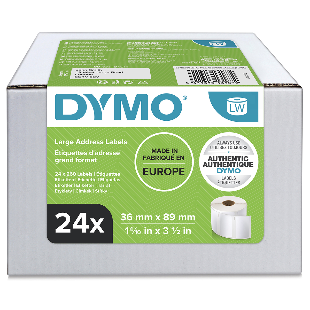 Dymo 99012 24 Rolls of 36mm x 89mm Large Address Permanent Labels