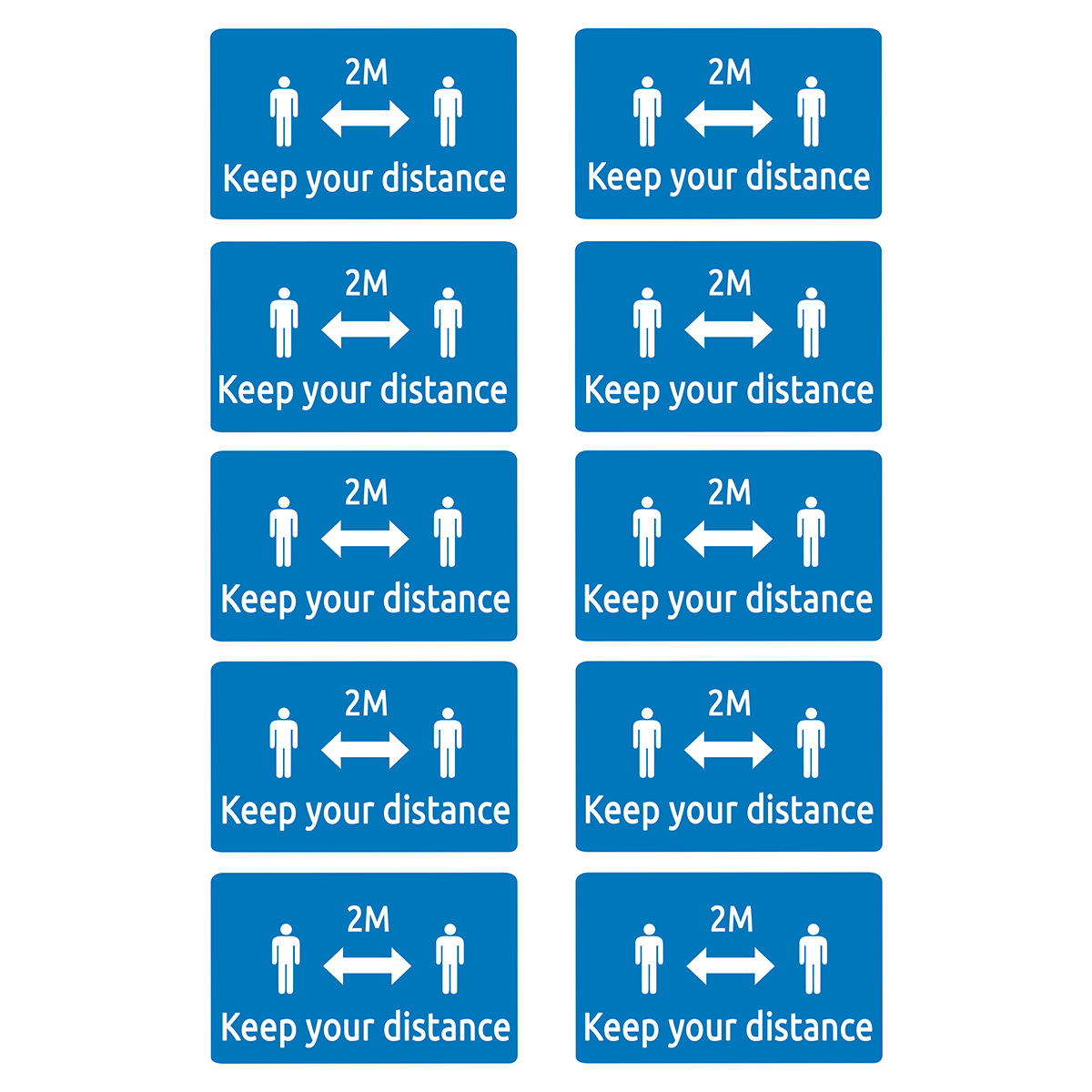 Avery Square 2m Keep your Distance Self-Adhesive Pre-Printed Badges