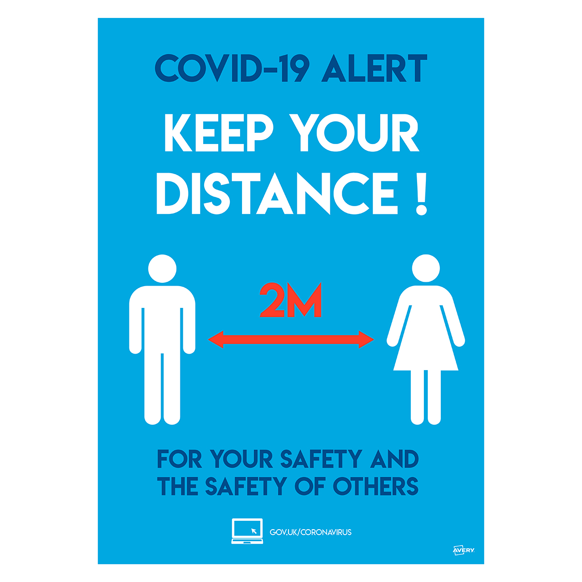Avery A4 COVID-19 Pre-Printed Social Distancing Poster