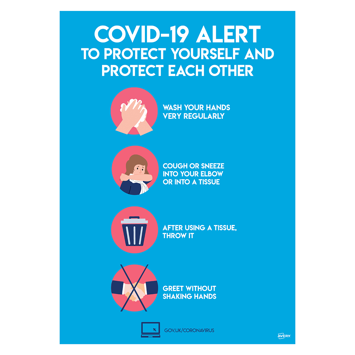 Avery A4 COVID-19 Pre-Printed Virus Prevention Poster