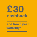 £30 cashback and 3 year warranty Icon