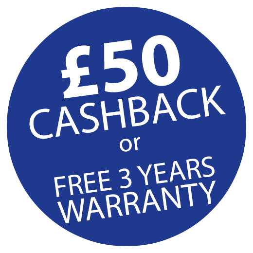 £50 Cashback OR FREE 3 year warranty! Icon
