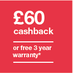 £60 cashback or 3 year warranty Icon