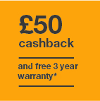 £50 cashback and 3 year warranty Icon