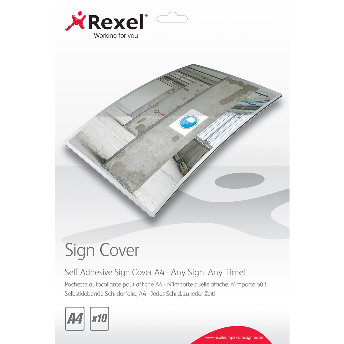 Rexel 2104249 Signmaker Self Adhesive Sign Covers A4 Pack of 10