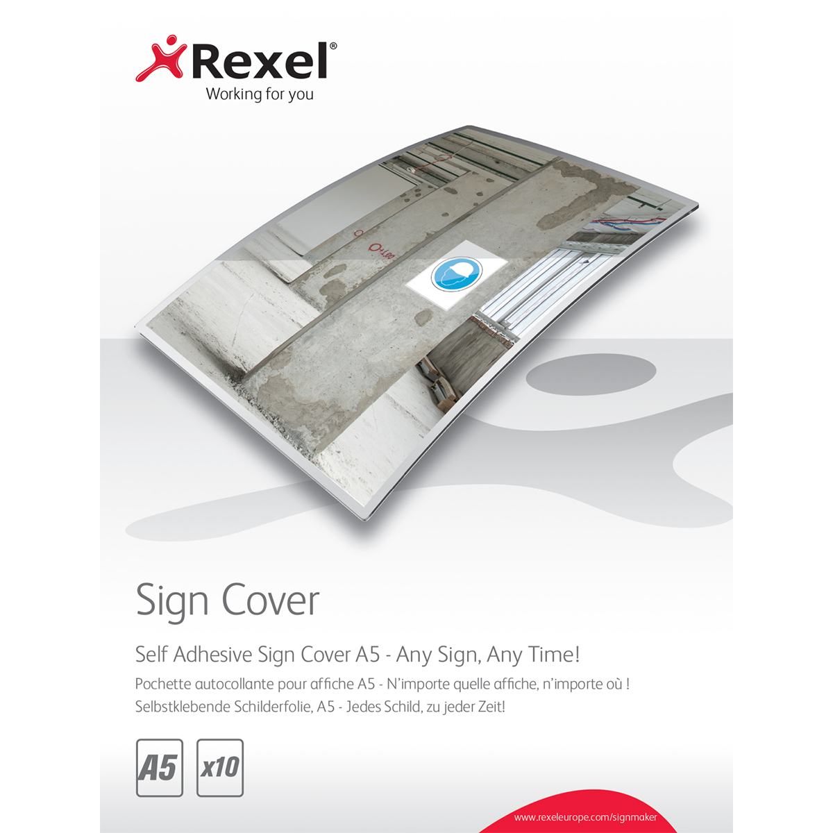 Rexel 2104250 Signmaker Self Adhesive Sign Covers A5 Pack of 10