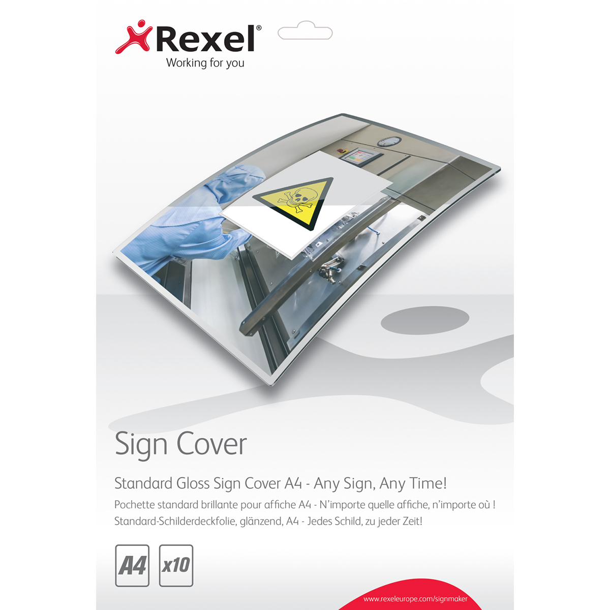 Rexel 2104251 Signmaker Standard Gloss Sign Covers A4 Pack of 10