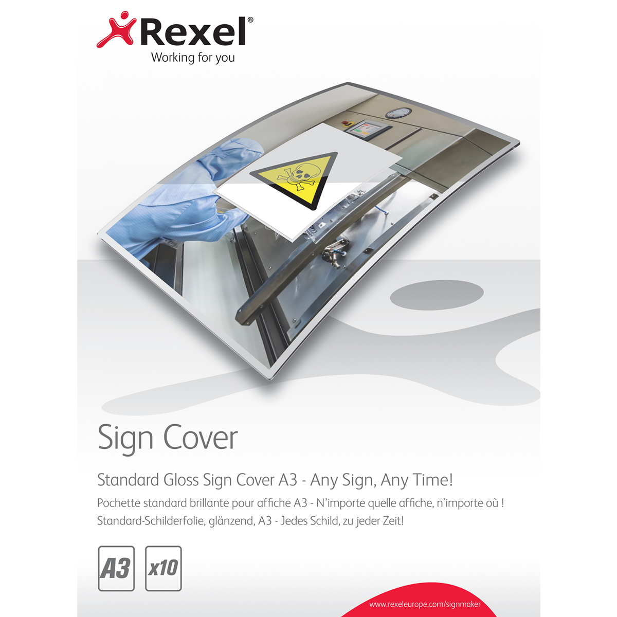 Rexel 2104254 Signmaker Standard Gloss Sign Covers A3 Pack of 10