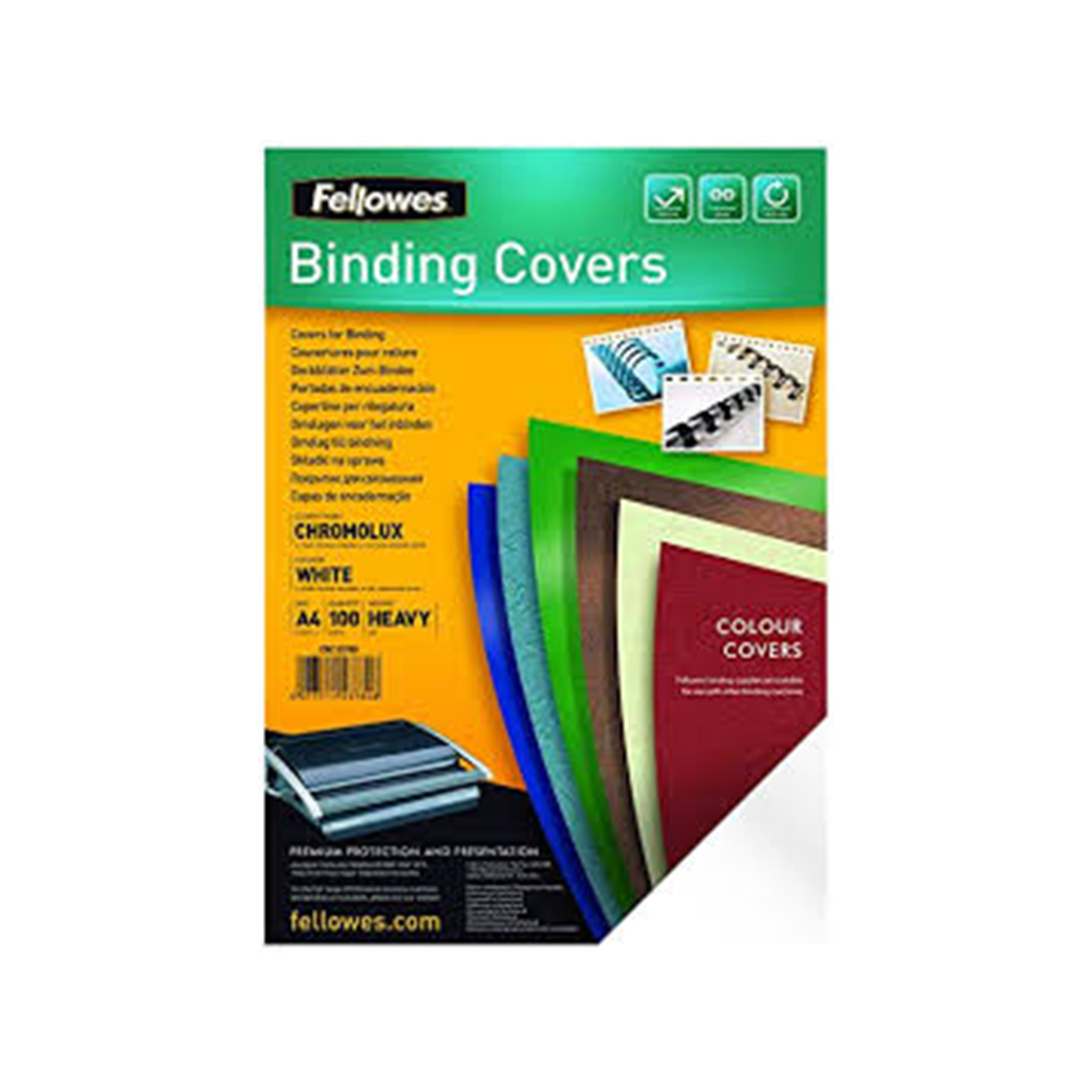 Fellowes 5378006 Binding Cover Chromolux Card with Leather Texture A4 Pack of 100 White