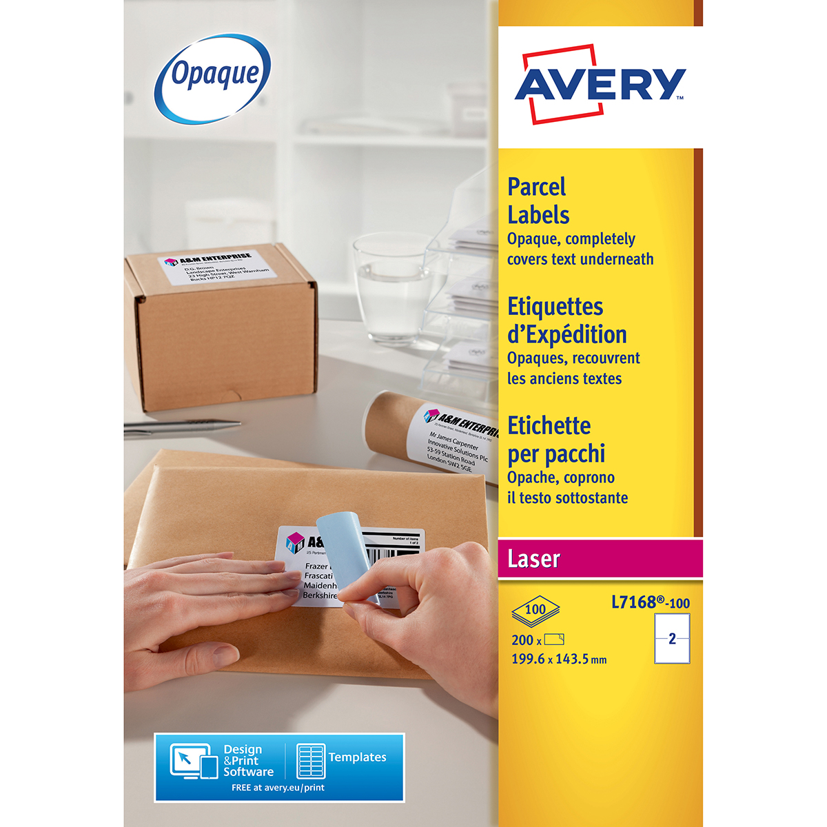 Avery L7168-100 Parcel Labels 100 sheets - 2 Labels per Sheet