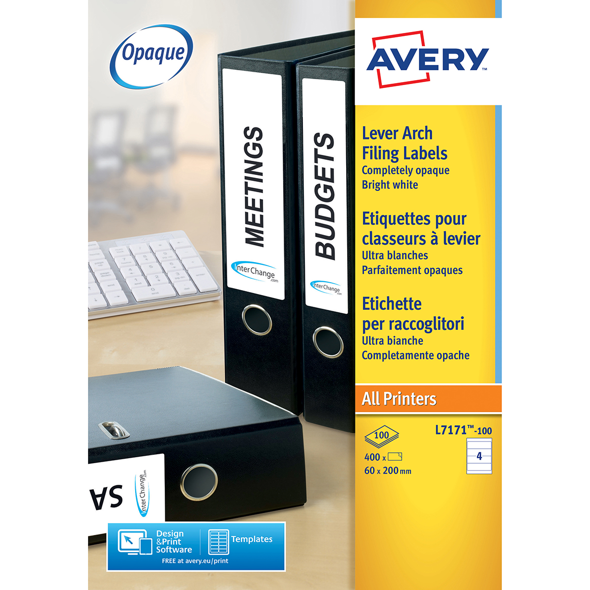 Avery L7171-100 Filing Labels 100 sheets - 4 Labels per Sheet