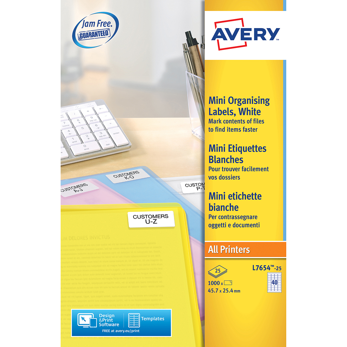 Avery L7654-25 Mini Multipurpose Labels 25 sheets - 40 Labels per Sheet