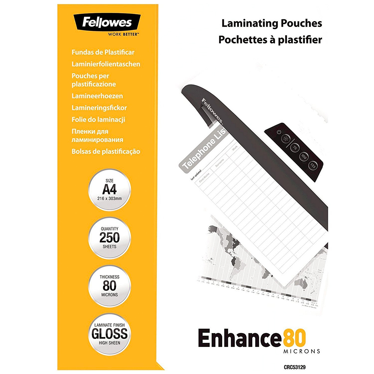 Fellowes 5312903 A4 80Mic Pouch 250pk
