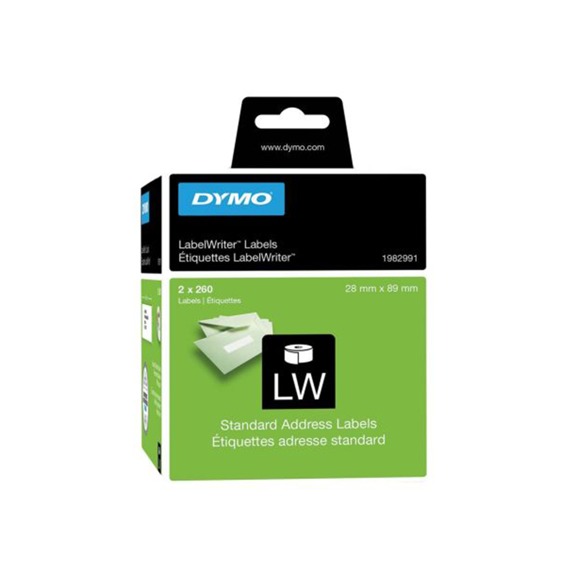 Dymo 1982991 LW Address Labels 28 x 89mm 2 Rolls of 260 Labels