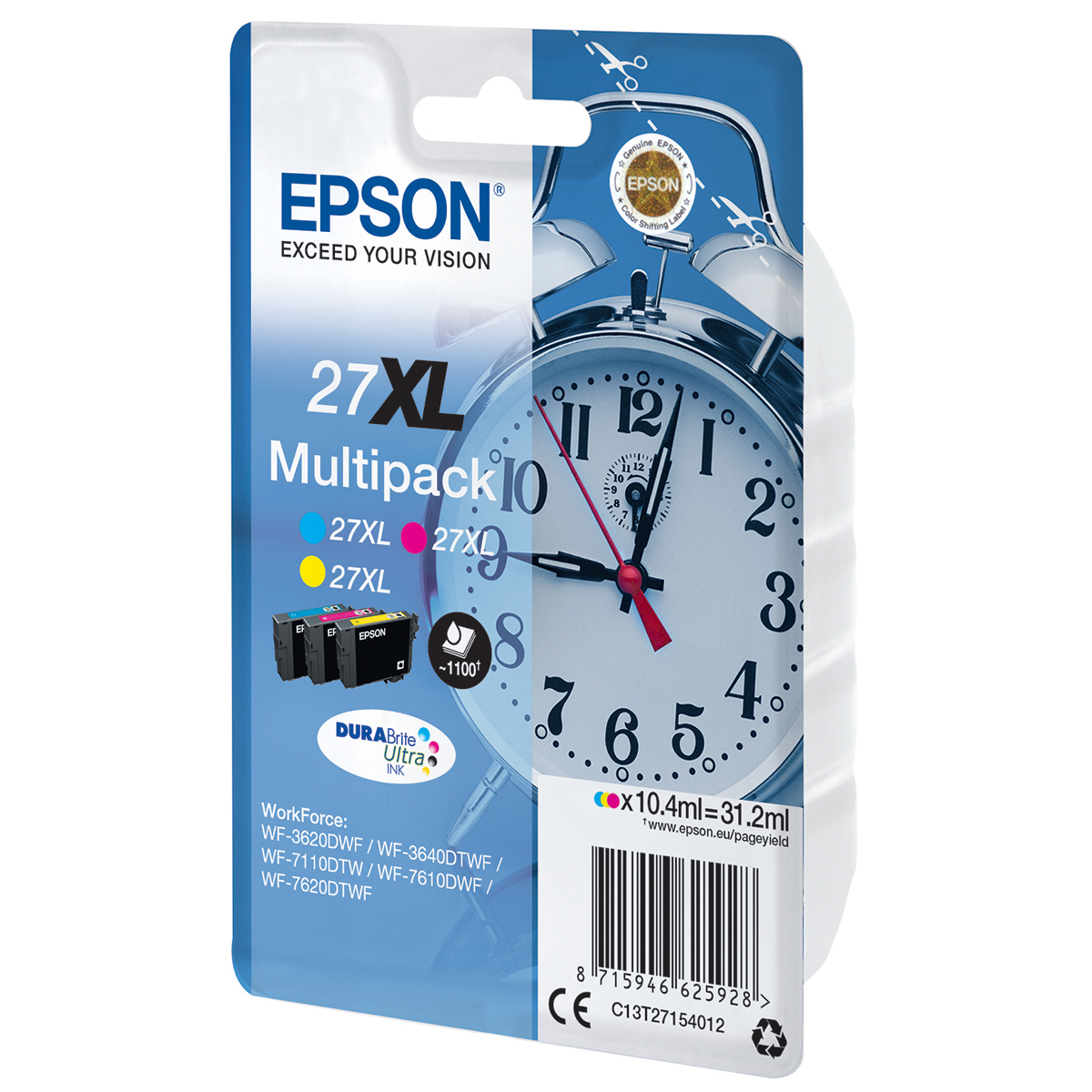 Epson 27XL Multipack 3 Ink Durabrite Ultra Cartridges