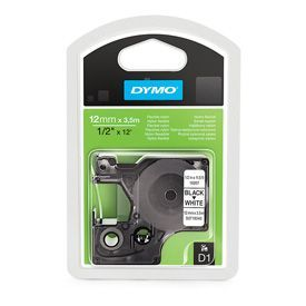 Dymo 16957 D1 12mm x 3.5m Black on White Tape