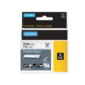 Dymo 1734524 24mm Black on White Flexible Tape - S0773840