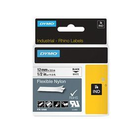 Dymo 18488 12mm x 3.5m Black On White Flexible Nylon Tape - S0718100