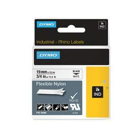 Dymo 18489 19mm x 3.5m Black On White Flexible Nylon Tape - S0718120
