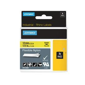 Dymo 18490 12mm x 3.5m Black On Yellow Flexible Nylon Tape - S0718080
