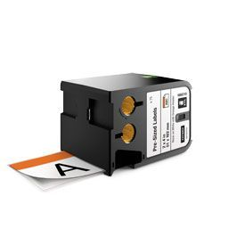 Dymo 1868713 XTL 51mm x 102mm 70 Pre-Sized Label, Black on White with Orange Header