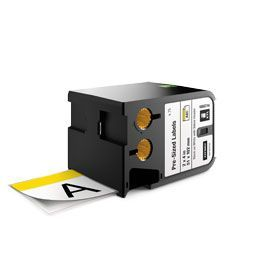 Dymo 1868714 XTL 51mm x 102mm 70 Pre-Sized Label, Black on White with Yellow Header