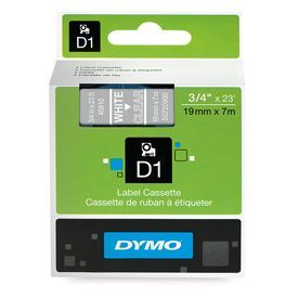 Dymo 45810 19mm x 7m White on Clear Tape
