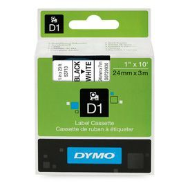 Dymo 53713 24mm x 7m Black on White Tape