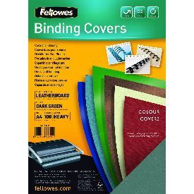 Fellowes 5371503 A4 Leatherboard Covers Dark Green