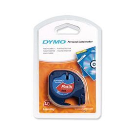 Dymo 91203 12mmx4m Black On Red Plastic Tape