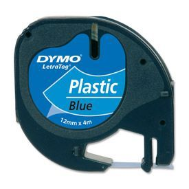 Dymo 91205 12mm x 4m Black On Blue Plastic Tape